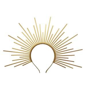 Image 1 - Gold Spike Halo Crown Kopfstück NYLON ZIP TIE Elf Hochzeit Braut Haar Band Frauen Stirnband Kopfschmuck