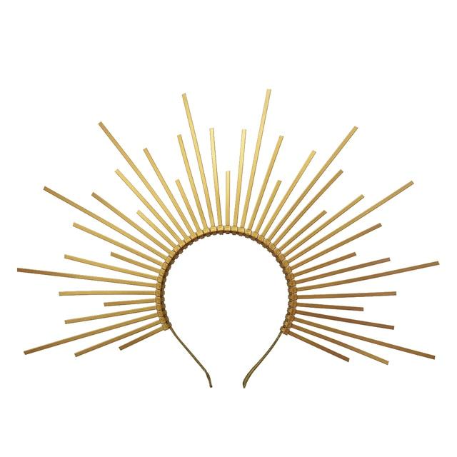 Gold Spike Halo HeadpieceมงกุฎไนลอนZIP TIE Elfงานแต่งงานเจ้าสาวผมวงผมผู้หญิงHeaddress