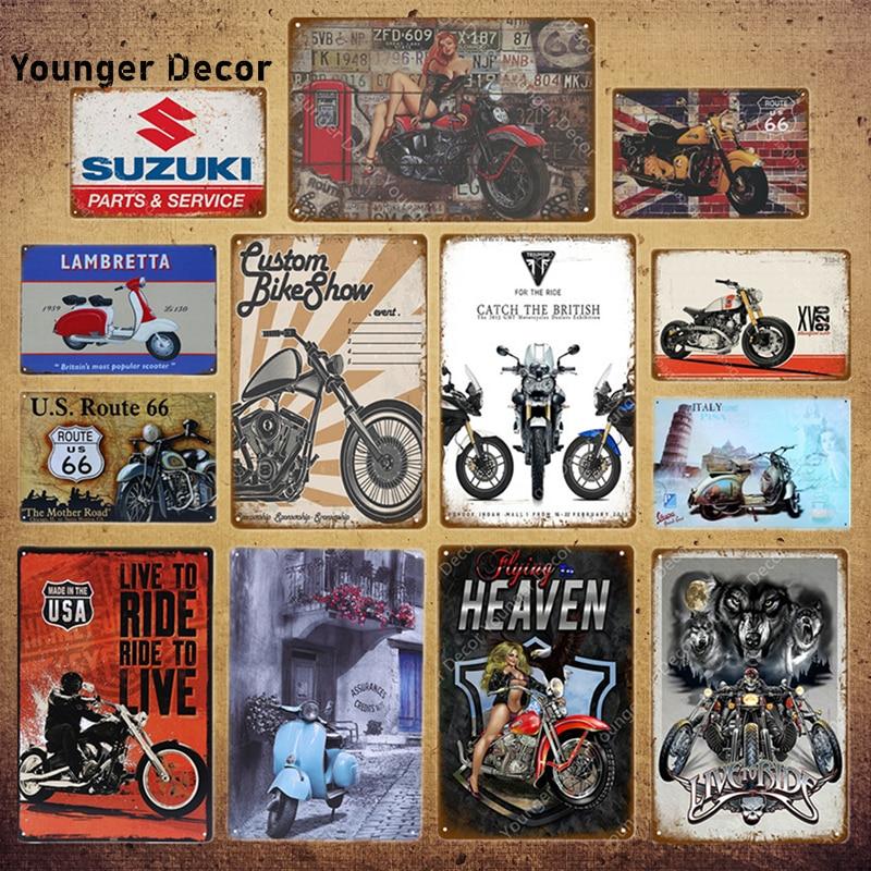 Cartazes de motor vintage, barra de metal para motocicleta suzuki, decoração da casa, retangular yi001