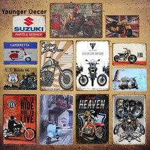 Sinais do motor vintage lambretta eletromobile suzuki motocicleta metal poster pub bar decoração para casa retângulo placa yi001