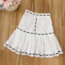 Baogarret Summer Runway Designer Women Flower Crochet Bandage White Cotton Skirt 2019 Elegant Holiday Party Fashion Skirts