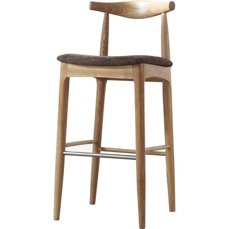 Nordic Solid Wood Bar Chair Bull Horn Backrest   Simple Household  Stand  Creative High
