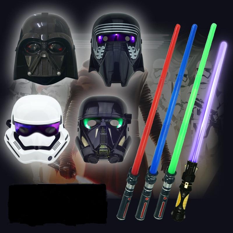 Star Wars Lightsaber Toy For Children Light Sound Stretch LED Sword Mask Cloak Action Figure Cosplay Halloween Gift