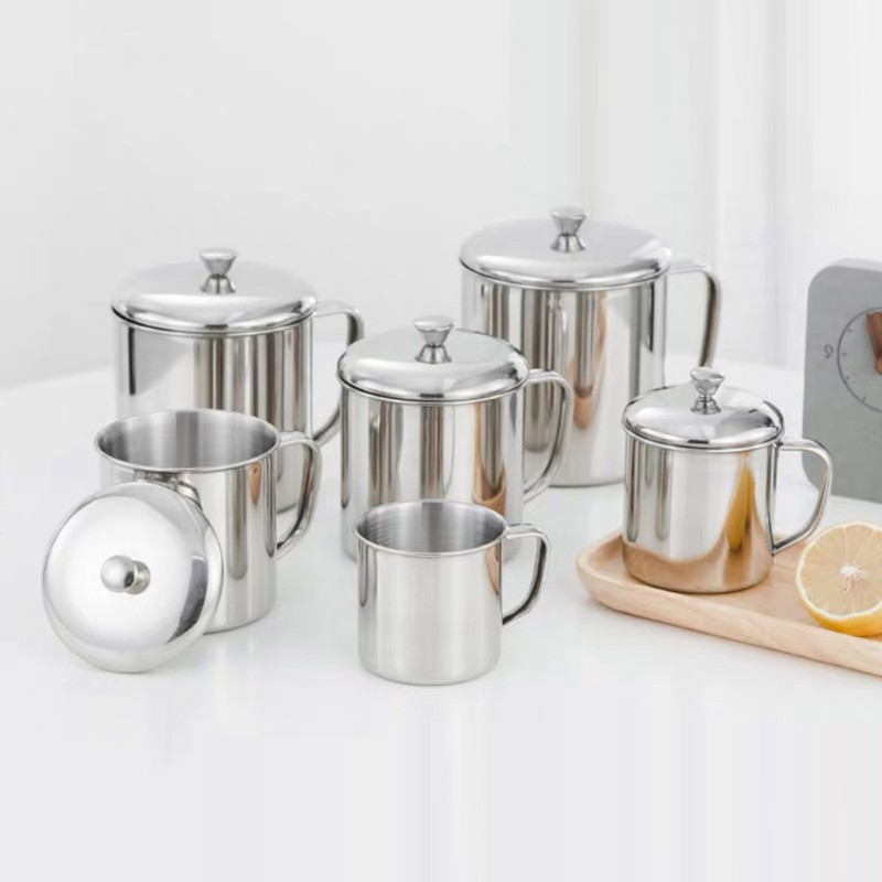 Stainless Steel Mouth Cup High Quality With Handle Cup Home Kitchen Bar Supplies Drinkware Cup and Saucer