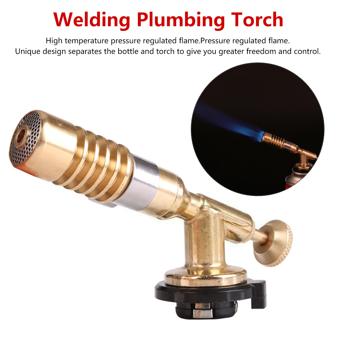 Adjustable Temperature Brass Gas Turbo Torch Aluminum Brazing Propane Weld Plumbing