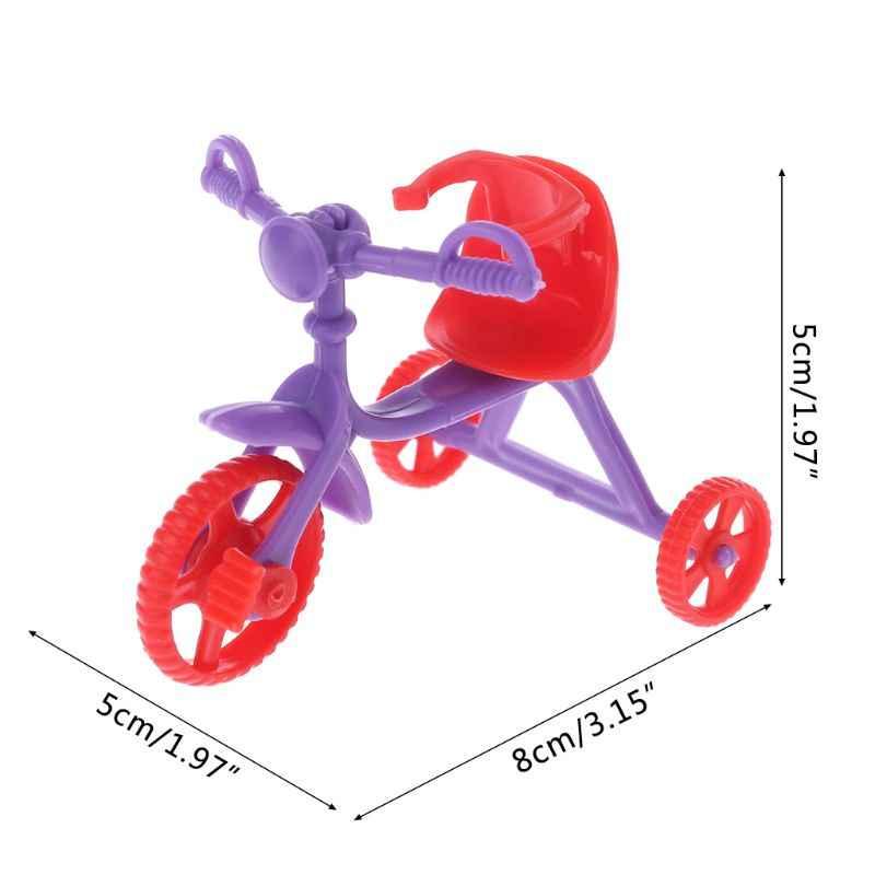 Muñeca triciclo con empuñadura niños minijuguetes niños regalos casa de muñecas accesorios plástico juego de Casa de juguete E65D