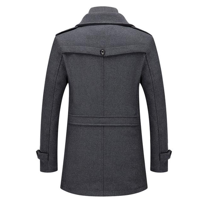 New Men Wool Blends Coats Autumn Winter Solid Color Cold Resistant Men Woolen Overcoat Double Collar Casual Trench Coat Male 2