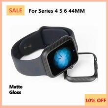 100% אמיתי טהור פחמן סיבי מקרה עבור אפל שעון סדרת 6 סדרת 5 44mm דק במיוחד אנטי סתיו קשיח כיסוי עבור Iwatch סדרת 4 44mm