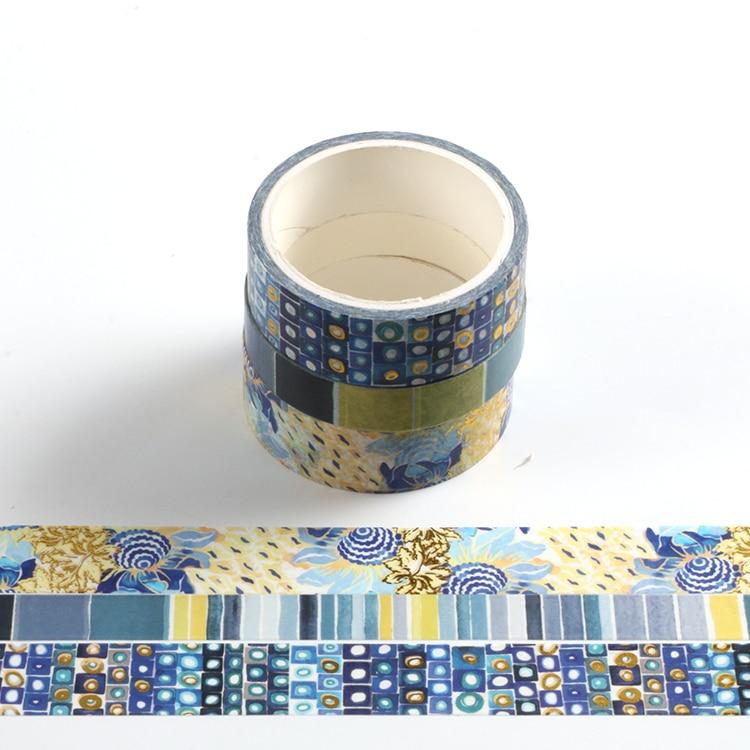 3 Pcs/set Decorative Art Geometry Gold Washi Tape Set Japanese Paper Stickers Scrapbooking Vintage Adhesive Washitape Stationary