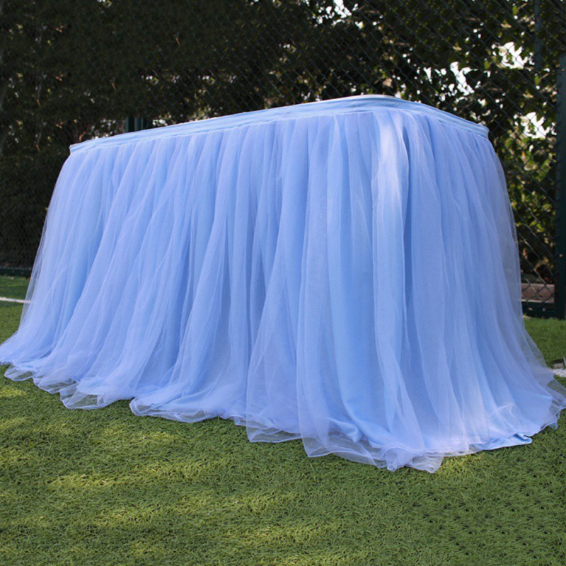 Colorful table skirt tutu tulle tablecloth for wedding party table decoration home textile tablecloth Accessoriesn in Table Skirts from Home Garden
