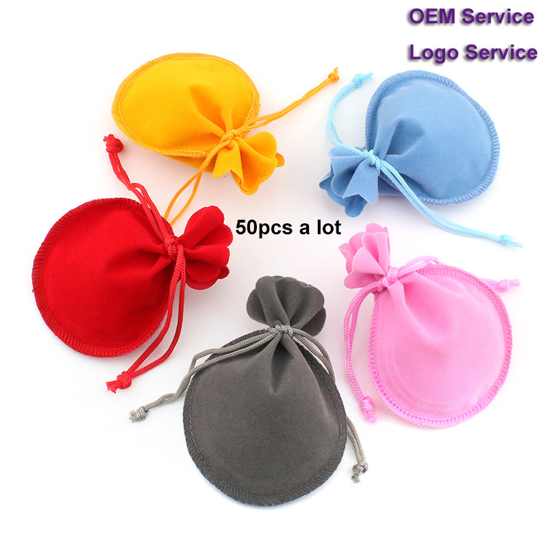 Jewelry Pouch Velvet Packing Bag Drawstring Gift Bag 50pcs/Lot 7x9 9x12 Used For Wedding Candy Cake Bag Advertising Bag