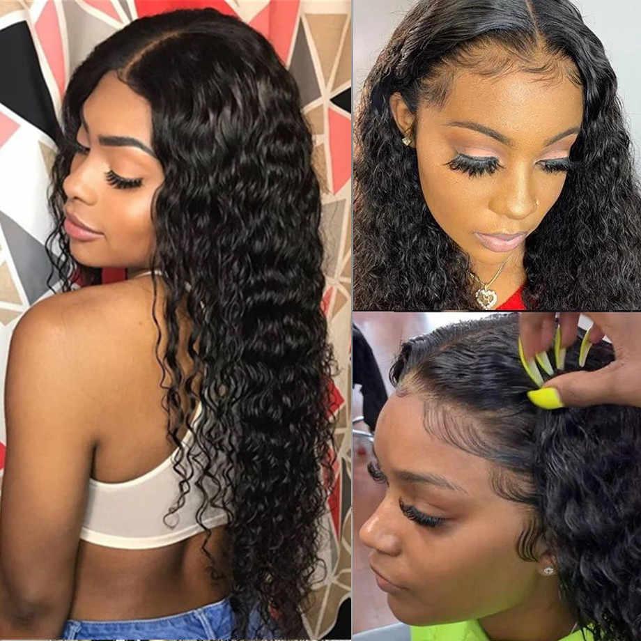 ディープ波 4 × 4 のレースの閉鎖かつらブラジル 13 × 4 レースフロント人毛ウィッグ 30 インチロングウィッグcheveux humain髪のかつら