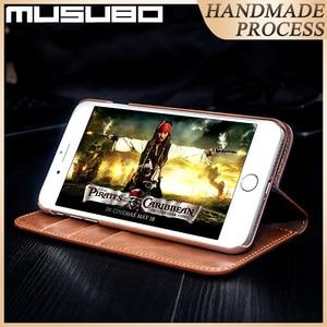Image 3 - Musubo מקרה עבור iPhone 11 פרו מקס אמיתי עור Flip מקרי כיסוי 11 פרו Fundas יוקרה עבור iPhone Xs XR 8 7 6 בתוספת ארנק Coque