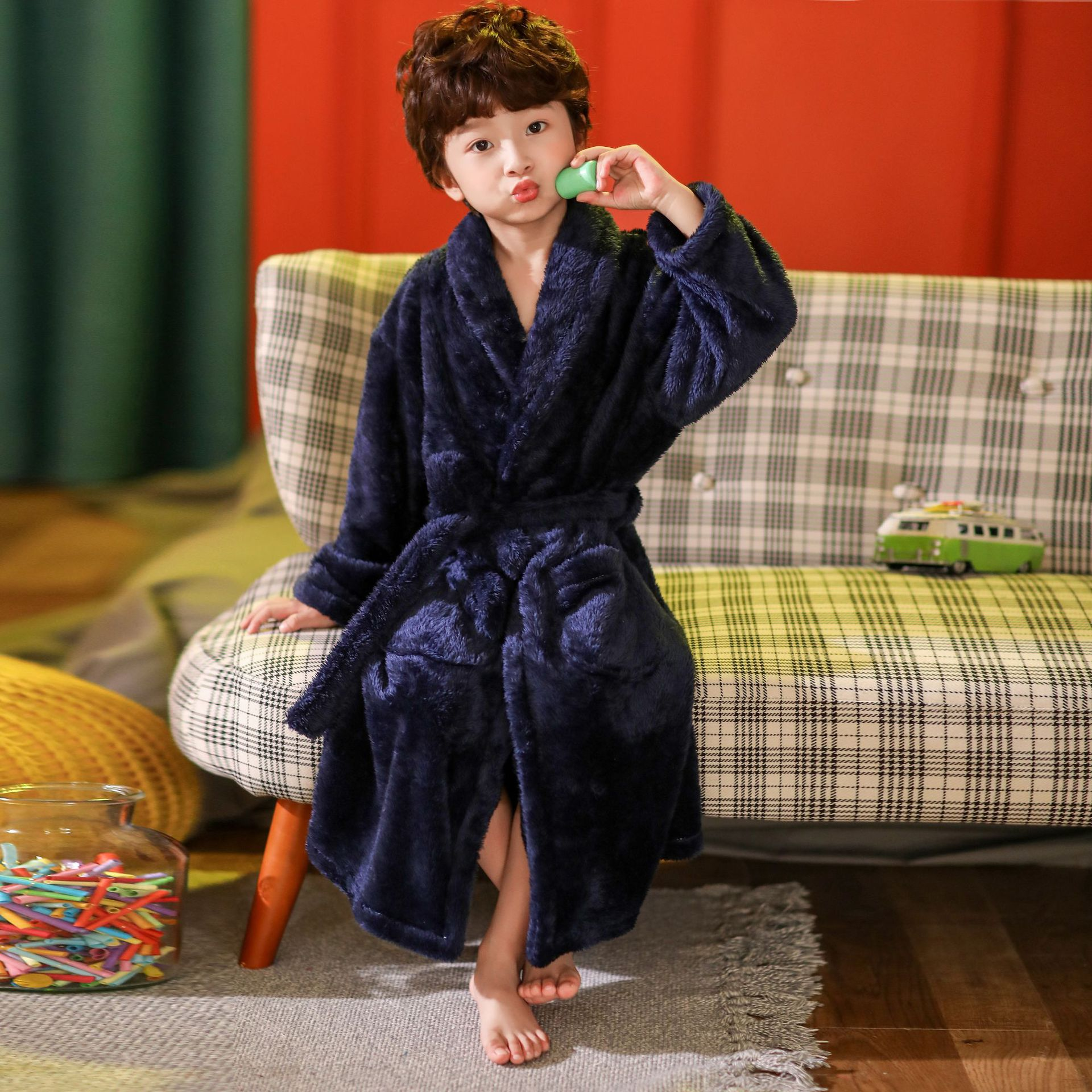 2021 new delivery children clothes winter boy girl pajama Flannel robe baby Bathrobe home clothes 3-12year 4