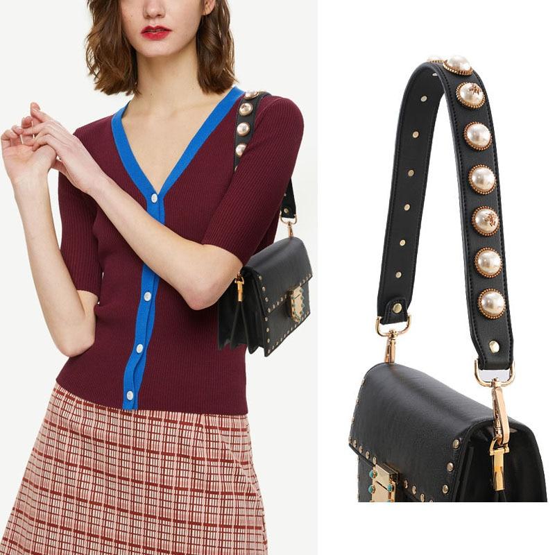 Short PU Rivet Pearl Handbag Belt Fashion Color Flower Bag Accessories Ornament Leather Wide Bee Flower Pearl Shoulder Bag Strap