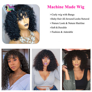 Image 3 - Brennas insan saçı peruk kısa kıvırcık Bob kahküllü peruk brezilyalı saç makine yapımı peruk siyah kadınlar için insan Remy saç peruk 150% D