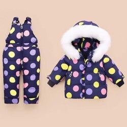 Kinder Winter Kleidung Set Ente Unten Jacke Baby Ski Tragen Mädchen Infant Kinder Parka Schneeanzug Warme Kleinkind Winter Mantel + overall