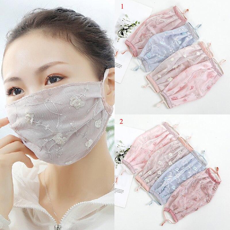 Женская кружевная вышитая Цветочная Солнцезащитная маска из искусственного шелка, дышащая Пылезащитная маска для ушей, летняя маска для рт...