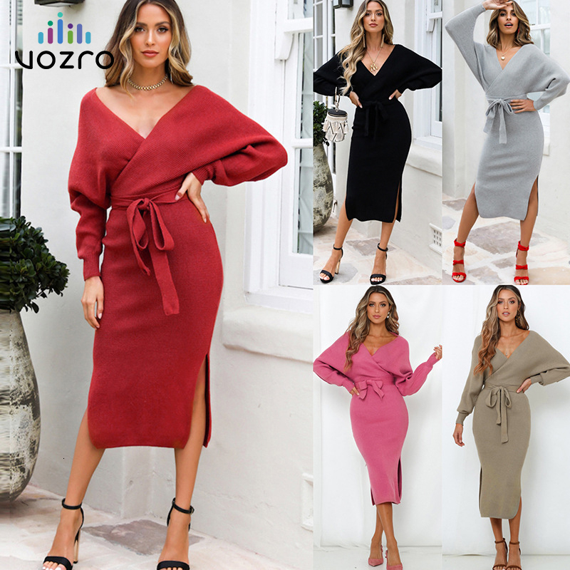 VOZRO Suit dress Bat Sleeve Solid Color Sweater Knitting Sexy Winter Maxi Party Long Dress Women Vestido Dresses Clothes Vintage-in Dresses from Women's Clothing