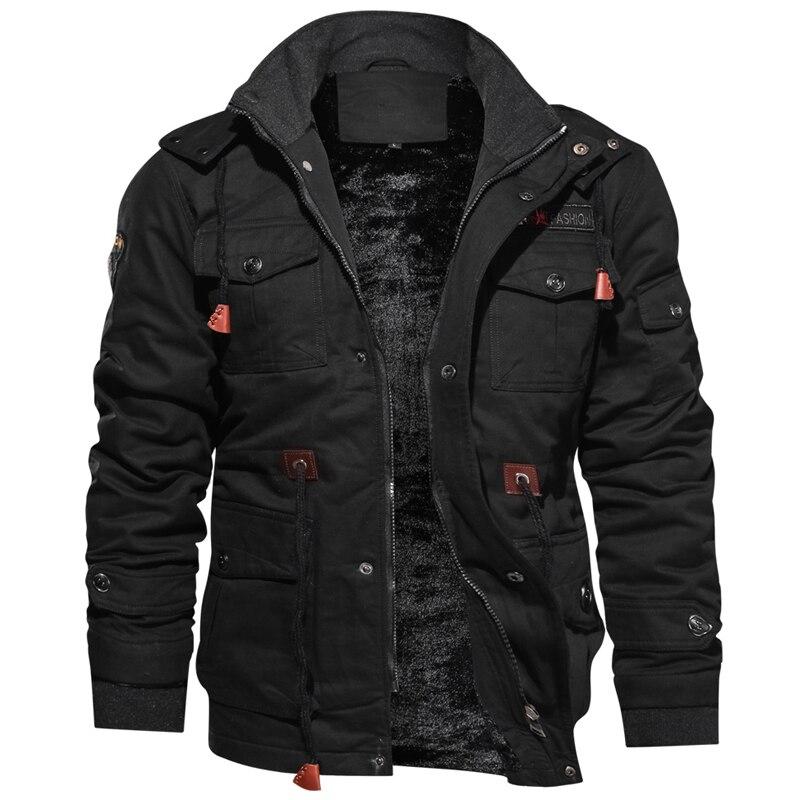 Новинка 2019, зимняя куртка для мужчин, повседневное плотное тепловое пальто, армейская куртка пилота, куртки ВВС, куртка карго, верхняя одежда, флисовая куртка с капюшоном, одежда 4XL - 4