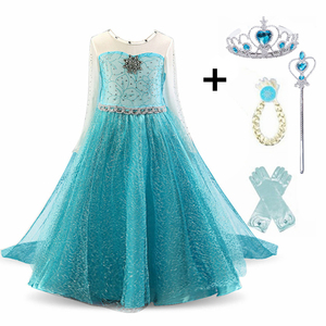 Cosplay Queen Elsa Dresses Elsa Elza Costumes Princess Anna Dress for Girls Party Vestidos Fantasia Kids Girls Clothing Elsa Set(China)