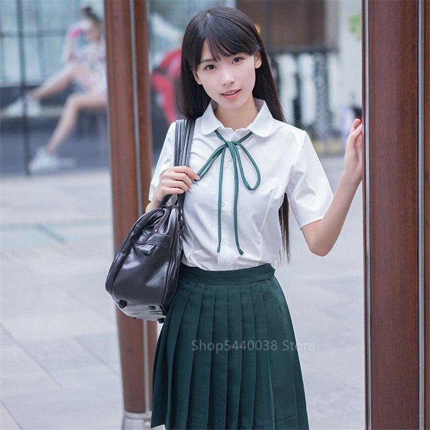 School Uniform Japanese Style Pleated Skirts For Girl High School Student Kawaii Sailor Cosplay Korean Fashion Clothing JK Plus