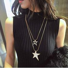 New Long Five-pointed Star Necklace Fashion Temperament Single Star Hollow Double Star Women's Sweater Chain Necklace Jewelry stylish five pointed star pendant black double chokers necklace