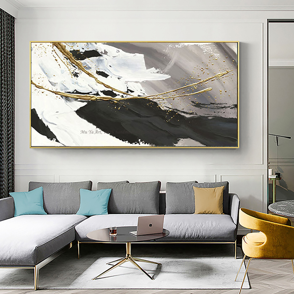Image 4 - Hand painted oil painting canvas abstract black and white gold 