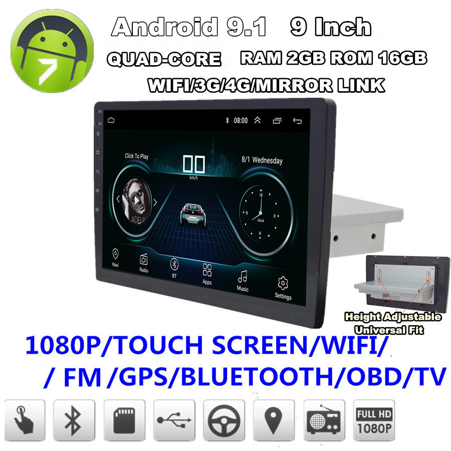 GPS Wifi Link Radio Mirror Android Touch-Screen Adjustable 16GB OBD BT 3G DAB 4G 2GB-ROM title=