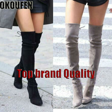 цена на Their new frosted suede boots female winter thick with high with thin leg stretch boots to keep warm round head knee-high boots