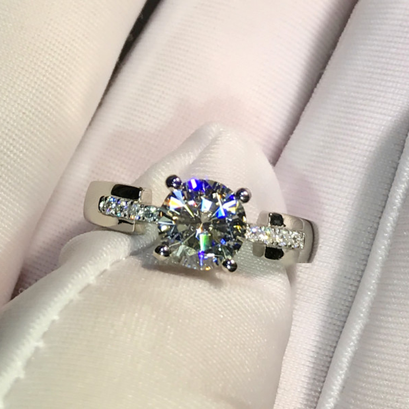 925 Sterling Silver Ring Luxury Style 4 Claws Moissanite Ring 1ct 2ct 3ct Round Cut Engagement Anniversary Ring