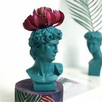 Michelangelo buonarroti david cabeça retratos resina imitação gesso vaso sala de estar plantas vaso flores ornamentos craftwork m3783