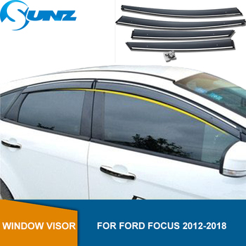 Window Visor Deflector For Ford Focus 2012 2013 2014 2015 2016 2017 2018 Sedan/Hatchback Smoke Car Wind Shield Rain Guards SUNZ цена 2017