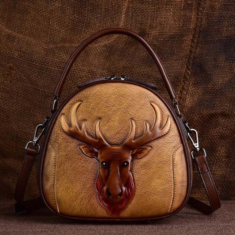 Dark-Brown Owl Face Cover Real Leather Cross Body Mini Shoulder Bag