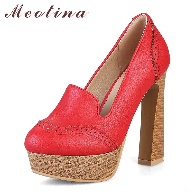 Meotina tacones altos Mujer Zapatos de plataforma sexys bloque tacones altos fiesta zapatos moda punta redonda damas rojo 2020 talla grande 46 KYSZDL gran oferta de alta calidad Natural granate pulsera moda mujer cristal pulsera joyería regalos