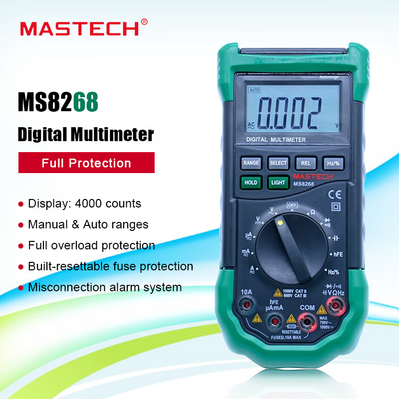 Digital Multimeter <font><b>MASTECH</b></font> <font><b>MS8268</b></font> Auto Range Full protection ac/dc ammeter voltmeter ohm Frequency electrical tester Multitester image