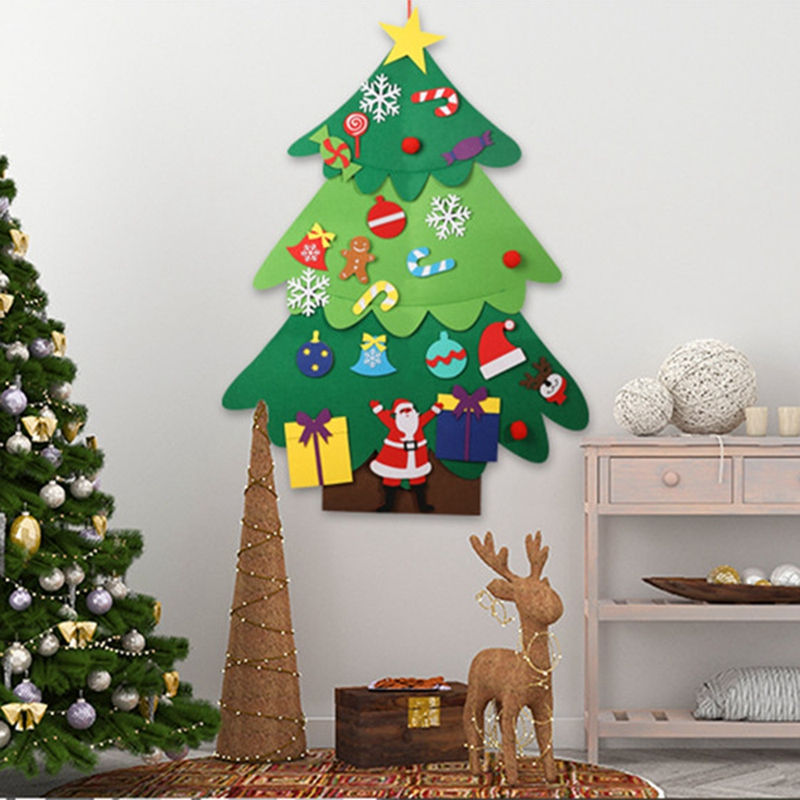 Creative Felt Christmas Tree For Kids Diy Christmas Tree With Toddlers Ornaments For Children Xmas Gifts Hanging Home Door Wall