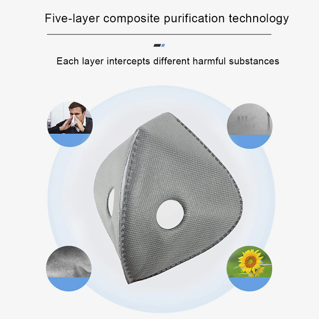 2 pcs PM2.5 black mouth mask dustproof activated carbon filter windproof bacteria-proof flu-proof face masks care 2
