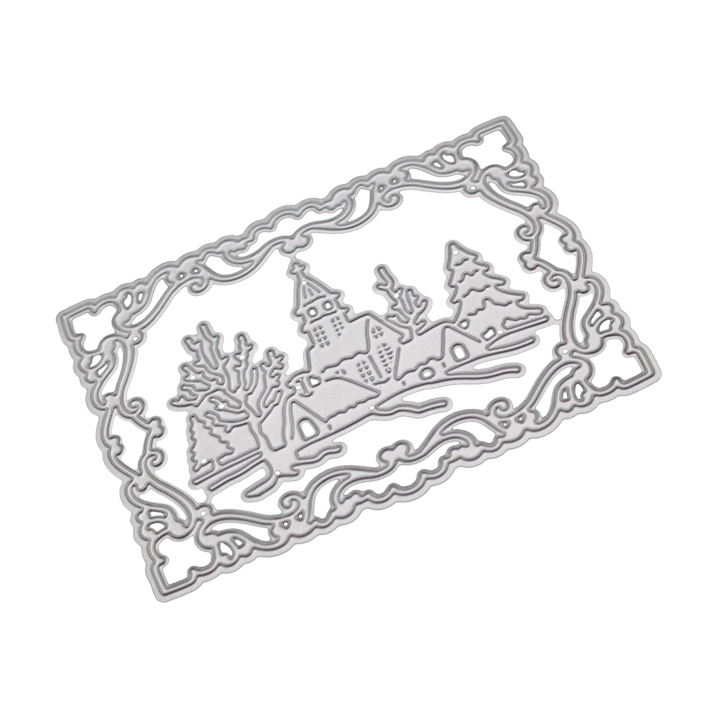 Christmas Castle Scrapbooking Cutting Dies Metal Rectangle Frames Stencil And Stamps For DIY Embossing Card Making Tree Dies