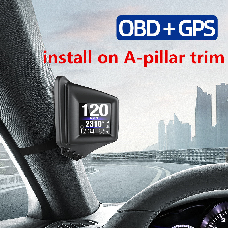 Hot 2020 OBD GPS Smart Gauge With 270 Degree Flip Screen A-Pillar Trim Or Put Dashboard Install Clear Fault Code Speedometer CSV
