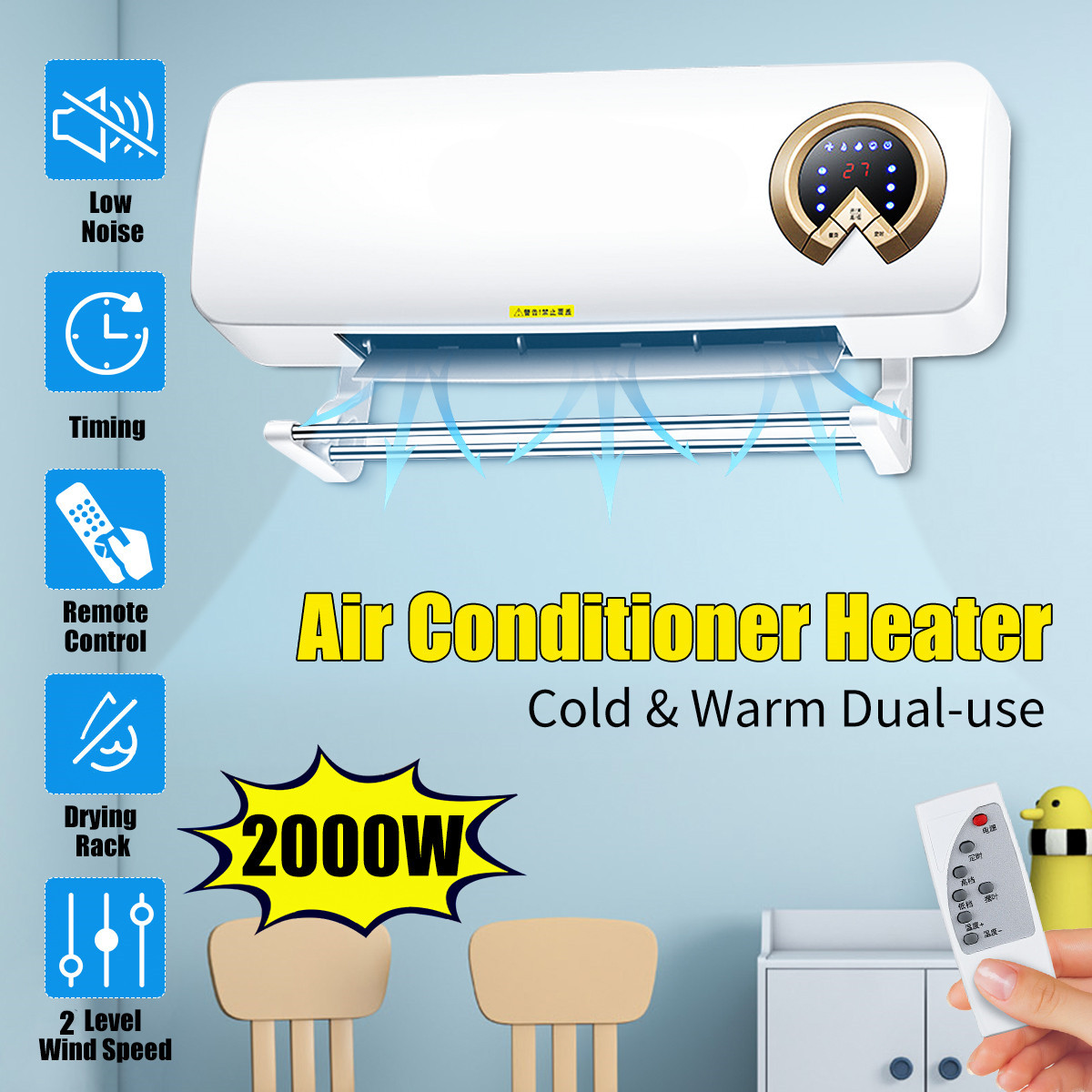 2000W Wall Mounted Air Cooler Conditioner Heater Fan Heating Cooling Room Bathroom Waterproof Remote Control Air Conditioning