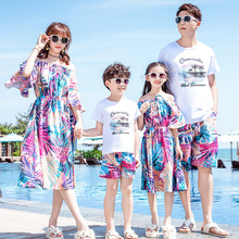 Summer Family Daughter-Dresses Outfits Shorts T-Shirt Father-Son-Sets Girl New Fashion