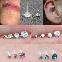 Starbeauty anel de nariz, 1 peça de 16g 2/3/4/5mm, barra clara, hélix piercing oreja labret, brinco de piercing de orelha
