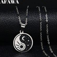 Collar de acero inoxidable con forma de luna y estrellas para hombre y mujer, Gargantilla de esmalte negro, joyería, moda 2021, N1879S01