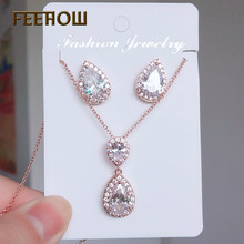 FEEHOW Fashion Water Drop Cubic Zirconia Crystal Earrings Necklace Jewelry Set for Women Wedding Dinner Party Gift FWSP3036