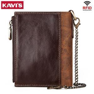 Image 2 - KAVIS Rfid 100% portfel ze skóry naturalnej mężczyźni Portomonee posiadacz karty monety kiesy mały męski portfel jakości Mini crazy Horse