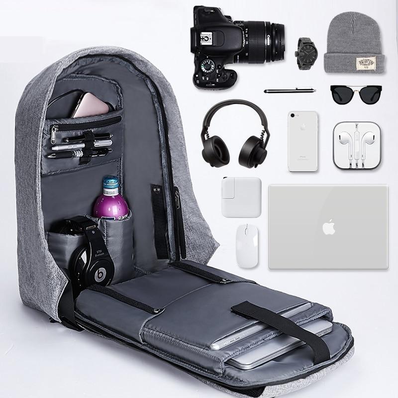 Men 15.6 Inch Laptop Notebook Backpack Waterproof Travel Backpack USB Charging Anti Theft Backpack Student School Shoulder Bags
