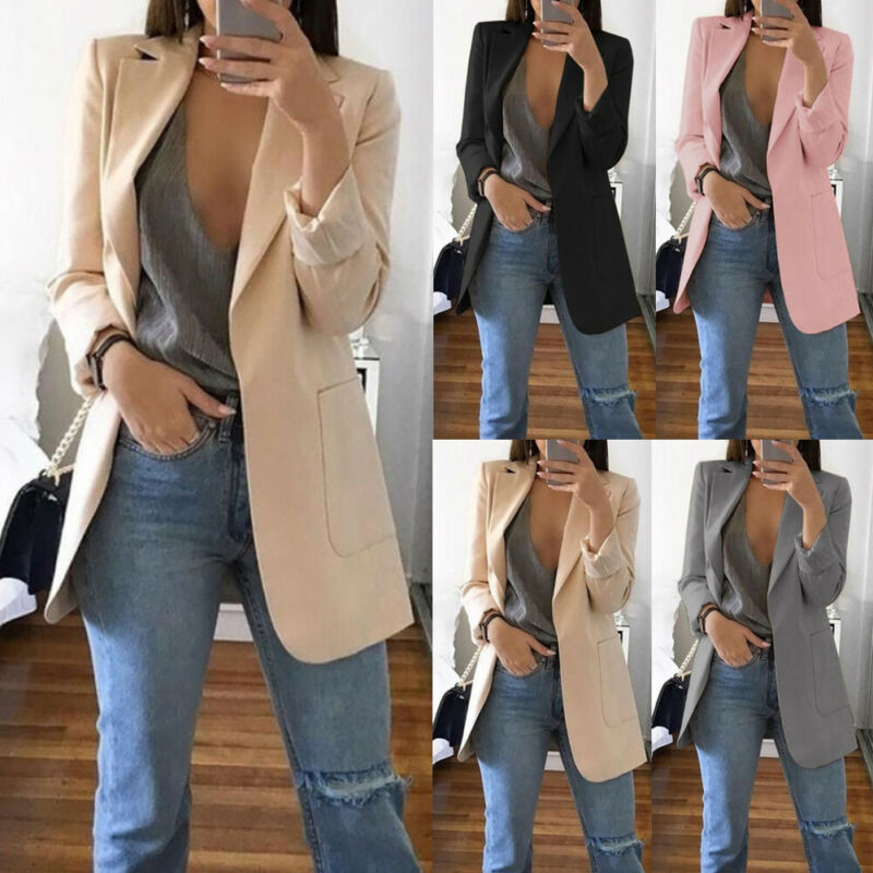 NEW Women Tailored Coat Retro Slim Outwear Jacket Top Coat Career Long Sleeve Casual Blazer Plus Size M-4XL 5