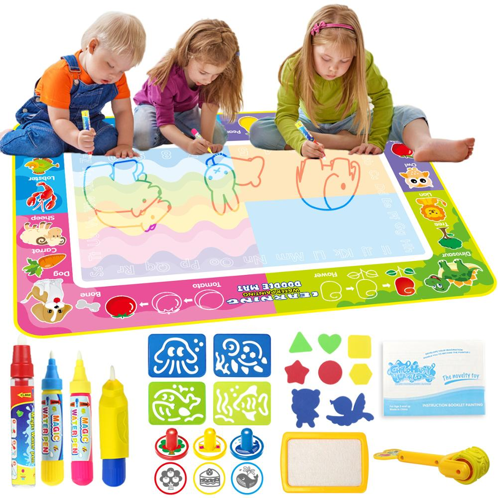 150x100cm Big Size Magic Water Drawing Mat Coloring Doodle Carpet With 4 Magic Pens & Stamps Painting Drawing Board Toys For Kid