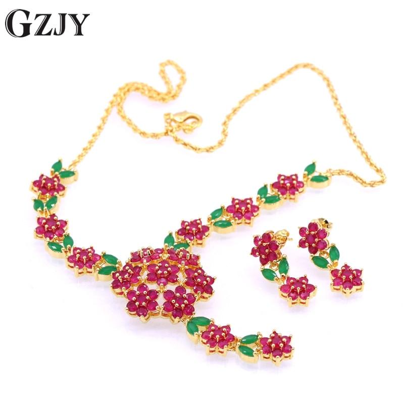 Módní svatební svatební šperky náhrdelník náušnice pro ženy květiny náhrdelník manželství Červený zirkonový šperk